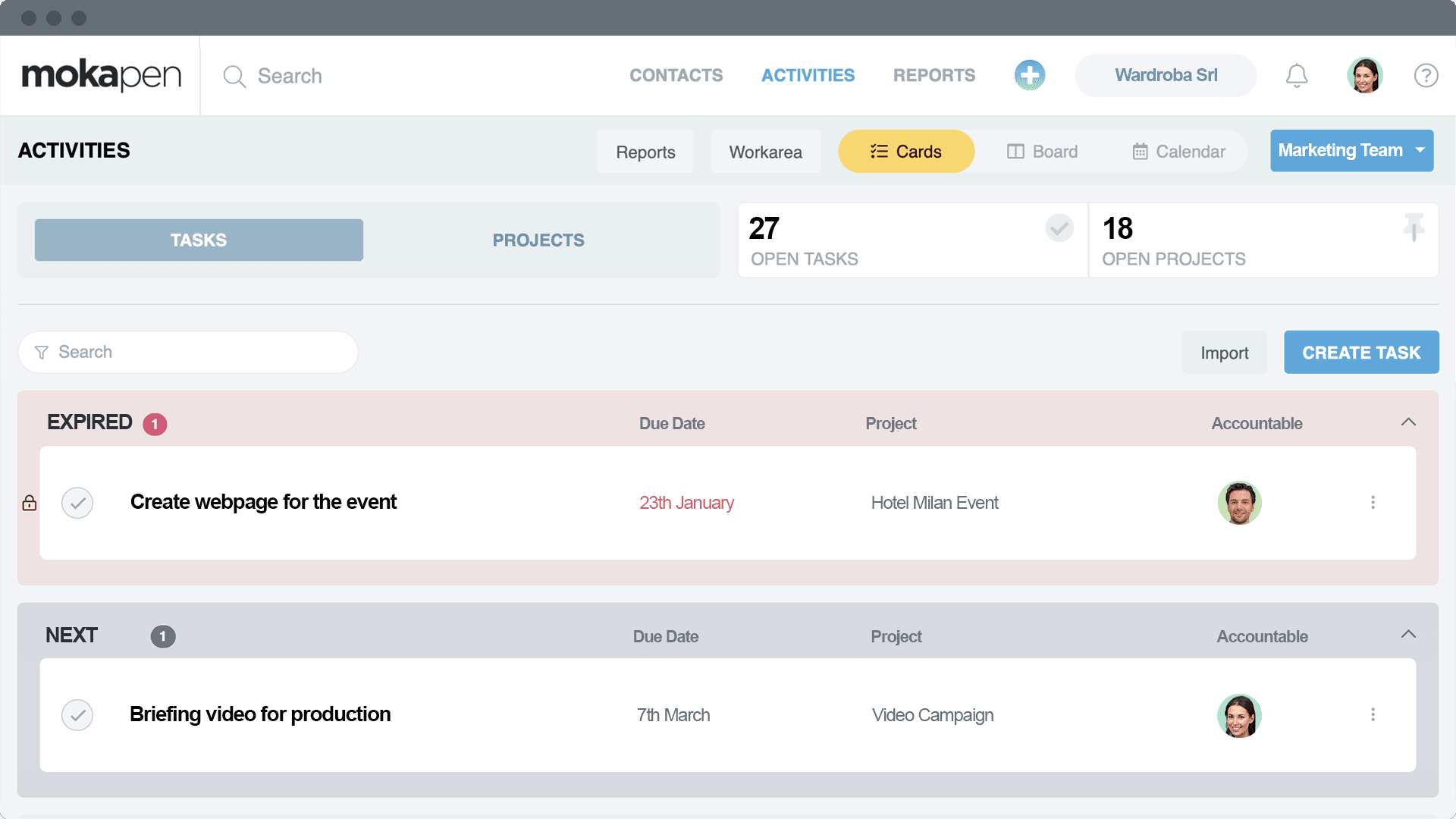 Monitor tasks and projects before they expire. Organize them, assign them and let Mokapen informing you on the agenda.<br>Filter by member or team for your review meetings.