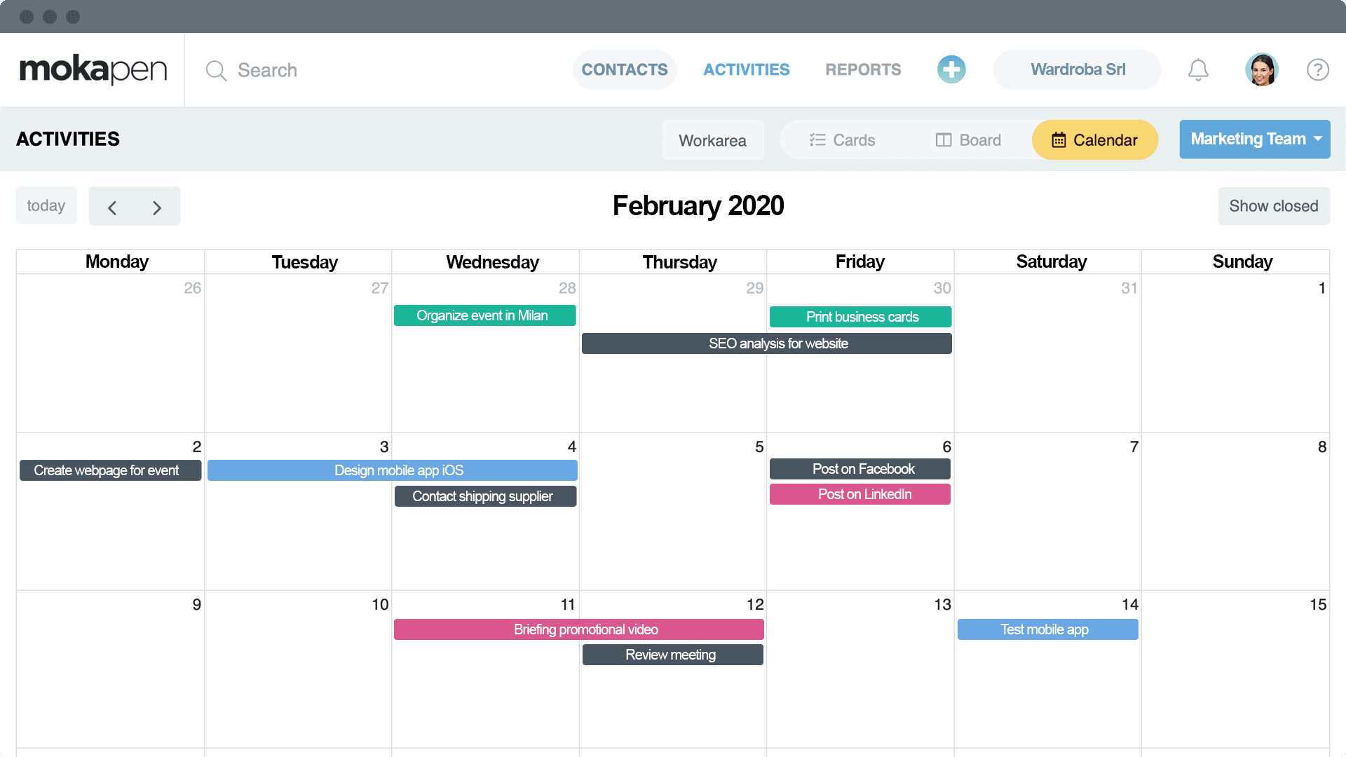 Activate the calendar view for your tasks. It will be easier plan activities by day, week or month. You can also integrate it with Google Calendar!
