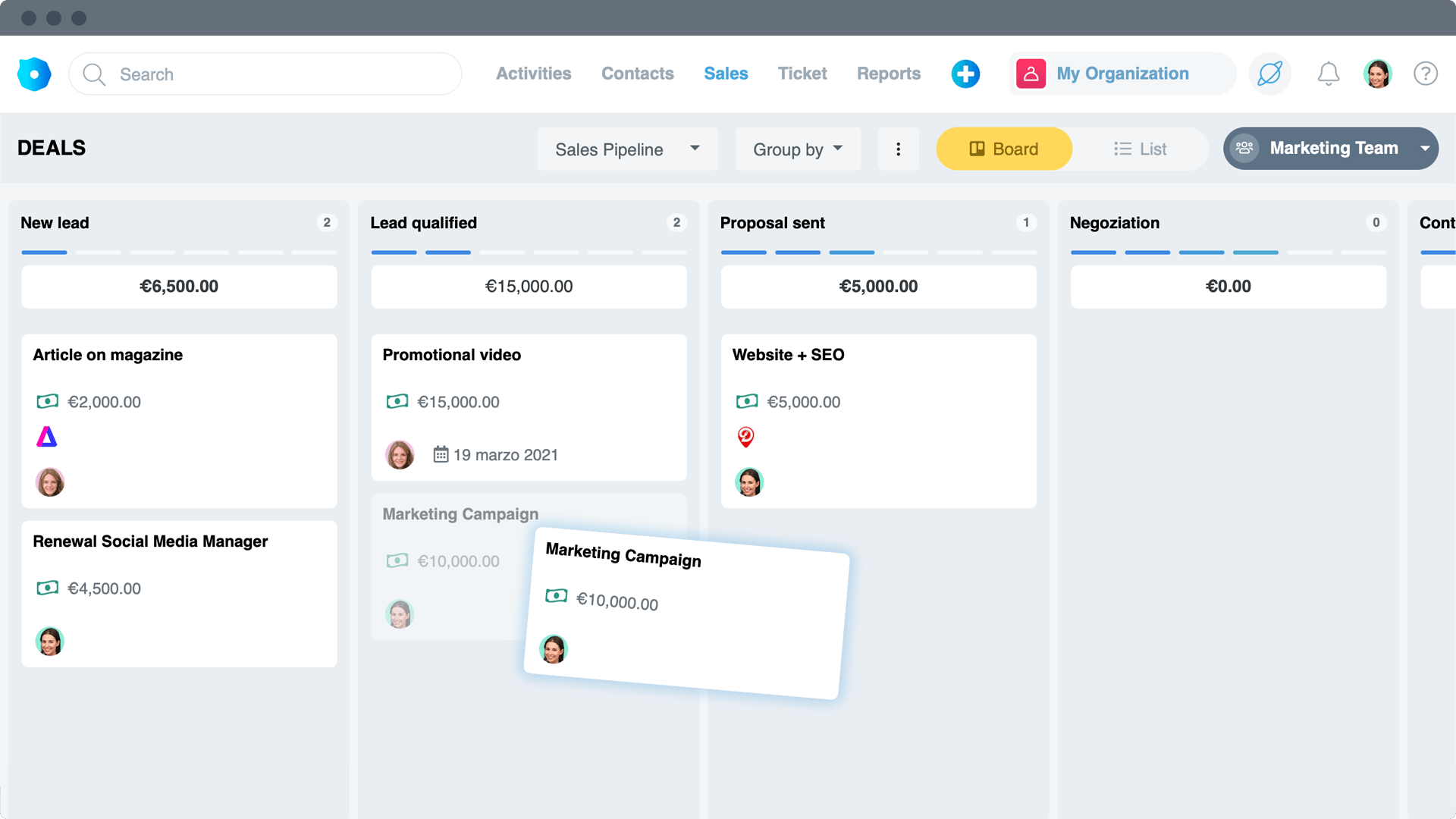 Create sales leads on saved contacts, define the amount and the sales phase. Through different pipelines you will have everything under control and the follow-up with contacts will be immediate.