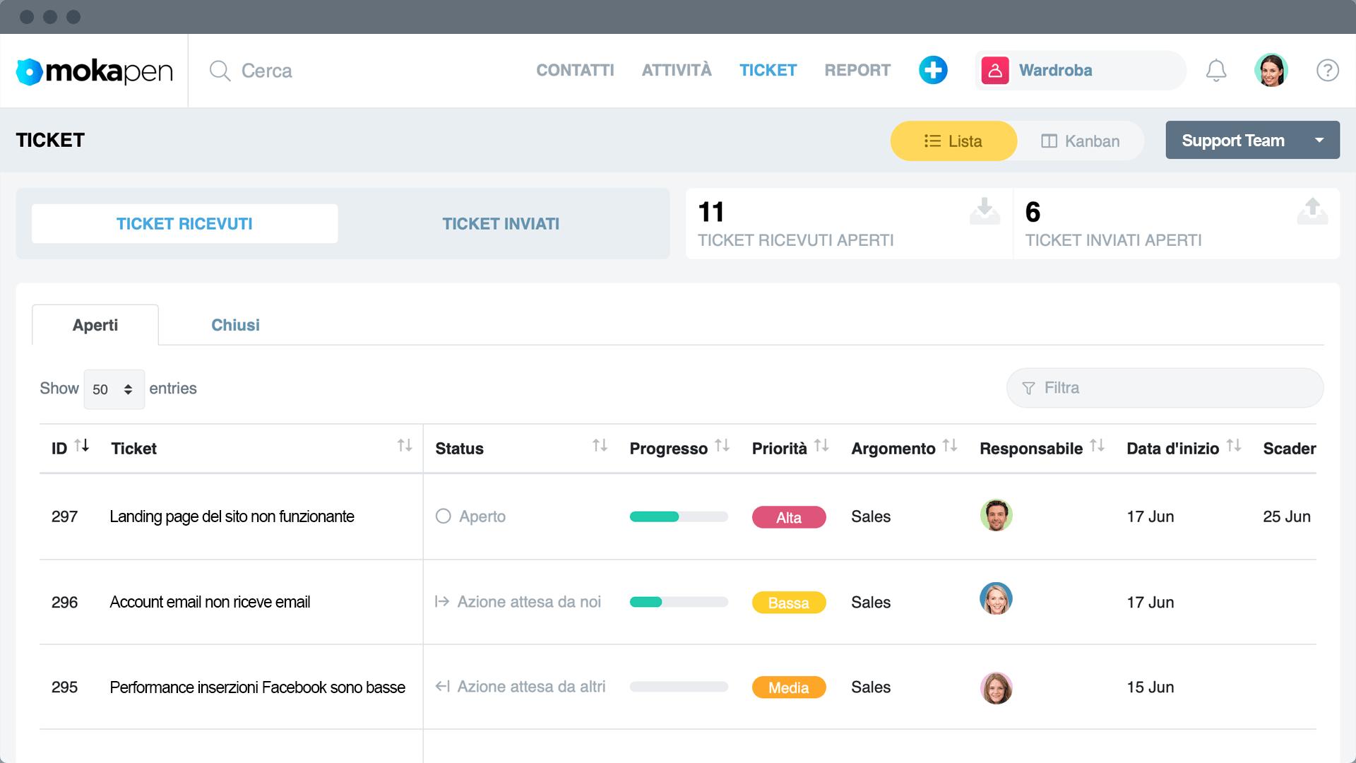 Gestisci bug di prodotto o richieste di supporto creando ticket al tuo team dedicato. Tieni traccia delle richieste organizzate per priorità e status. Risolvi i problemi rapidamente e in modo mirato.